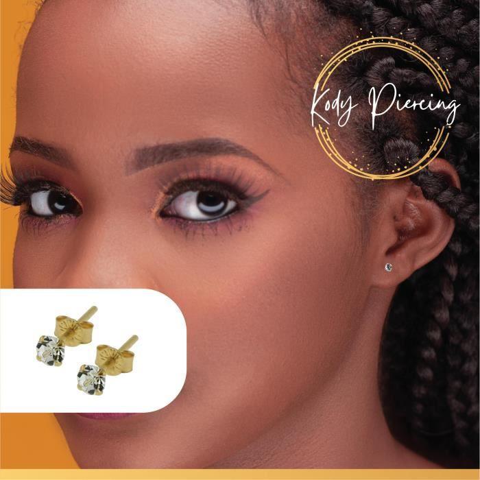 Bijou Piercing Boucles d'Oreille En Or 9 Carats Massif Pierre Précieuse Cristal Rond de 3mm Sertie