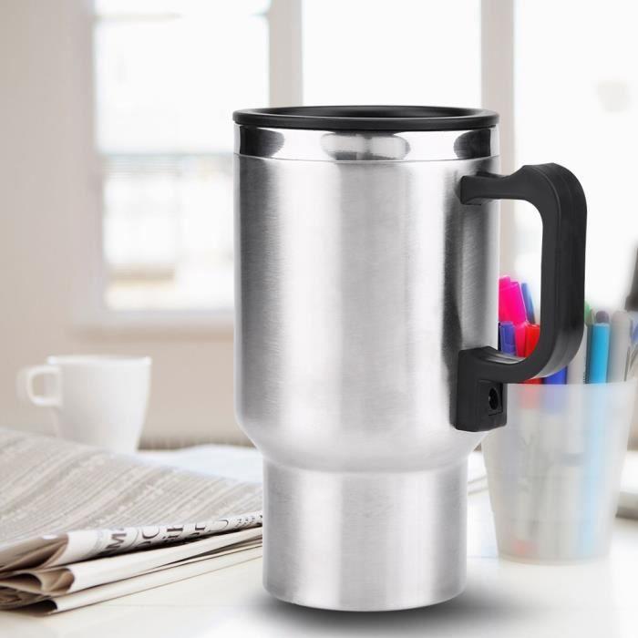 12V 450 ml Tasse Chauffante Électrique en Acier Inoxydable de Voiture Bouilloire de Café Thé -ABI