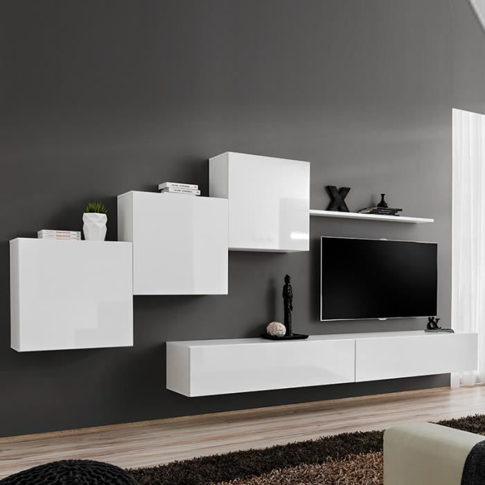 Composition murale blanche design VIVARA 3 Blanc L 330 x P 40 x H 160 cm