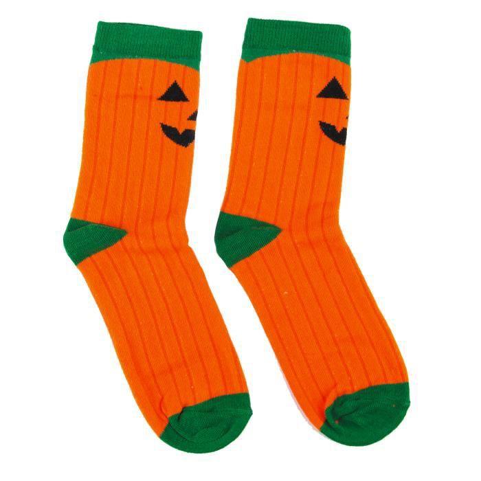 Chaussettes citrouille effrayante - Orange
