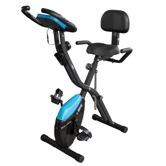 Vélo d'appartement ultra compact et pliable X-Bike - Roue inertie 2Kg - 10 niveaux de résistance - Capteurs Pulsations Cardiaque