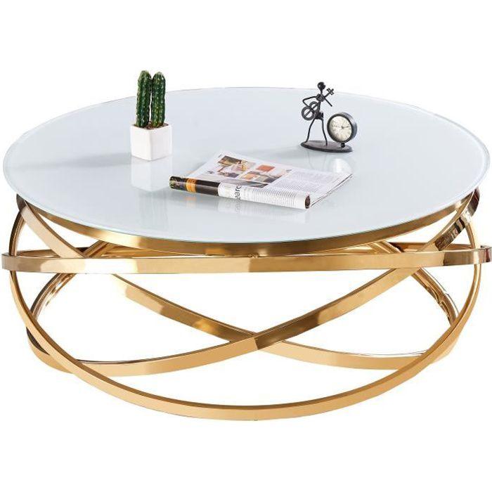 Table basse design rond avec piètement en acier inoxydable poli doré et plateau en verre trempé blanc L. 100 x H. 43 cm collection