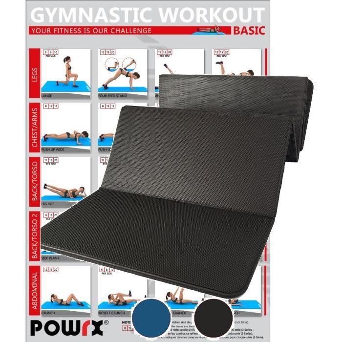 Tapis de gymnastique pliable 180 cm sans PVC, bleu ou noir Couleur: Noir