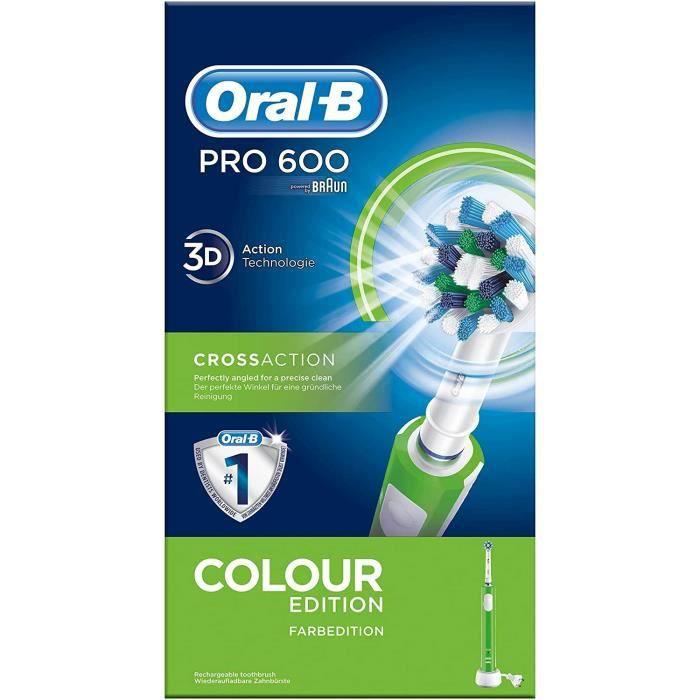 Brosses à dents électriques Oral-B Pro 600 Cross Action - Brosse à Dents Électrique Rechargeable - Edition Verte 88208