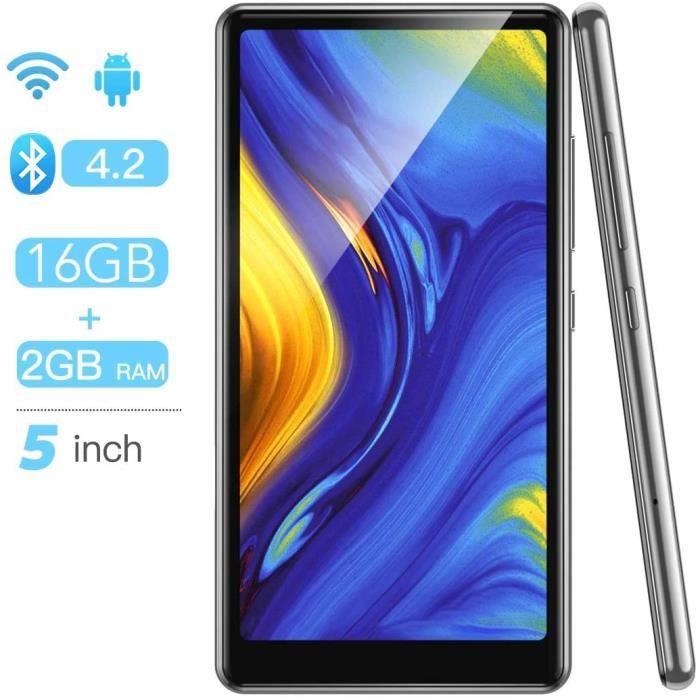 Lecteurs MP3 et MP4 AGPTEK 16Go MP4 Bluetooth WiFi 5 Pouces Ecran Tactile Complet, Haut-Parleur Lecteur Musique Audio Hi 14851