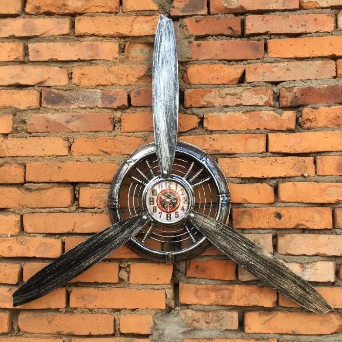 CARILLON A VENT - CARILLON EOLIEN,Vintage Style industriel décorations avion hélice fer décoration murale barre - Type Silvery1