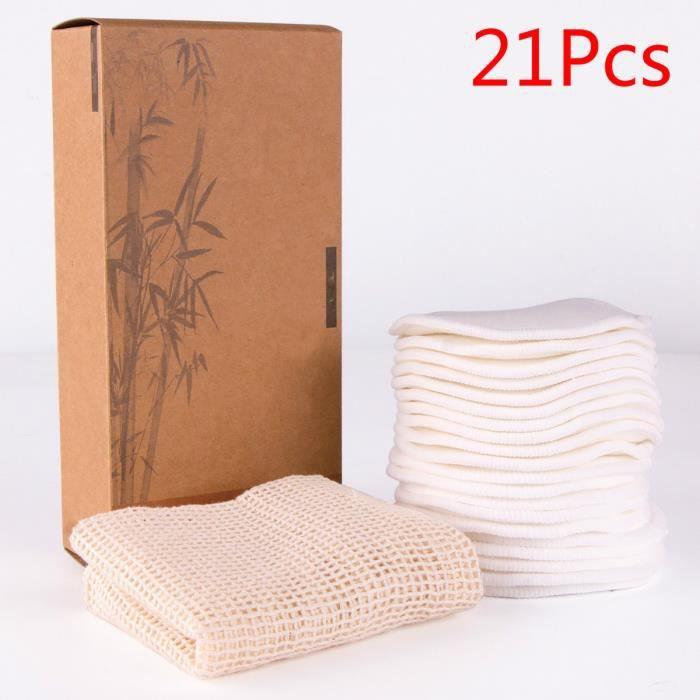 Tampons Démaquillants Fibre De Bambou, Disques Coton Demaquillant Lavable, Fibre De Bambou Velours, Réutilisable - Blanc