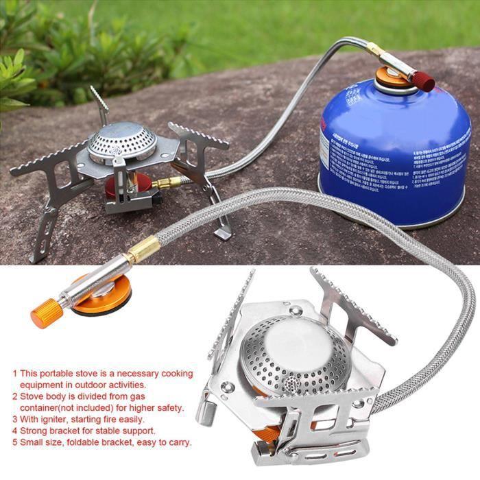 Brûleur à gaz de pique-nique extérieur portatif 3500W pliable sac à dos Camping Mini poêle en métal