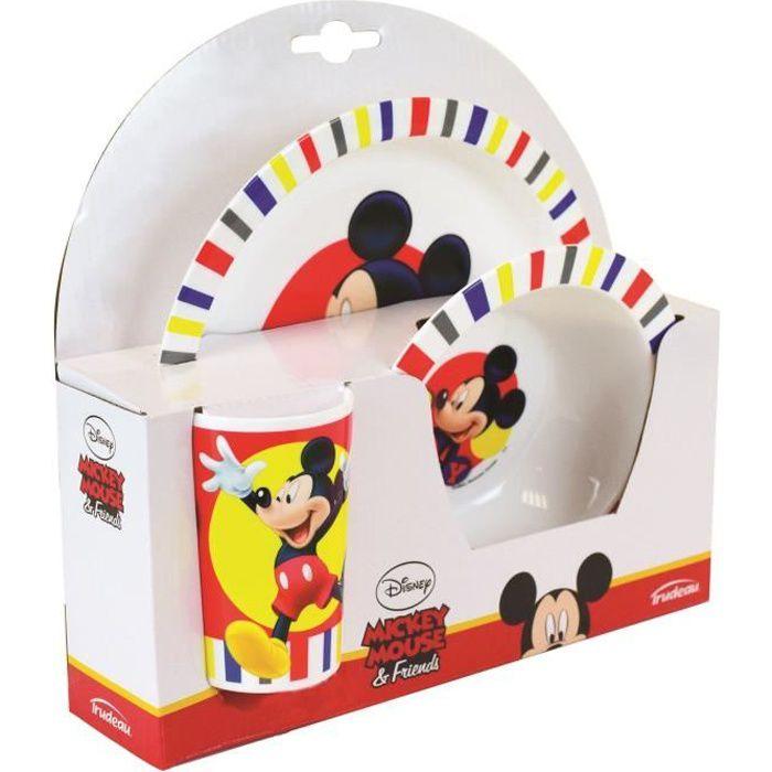 Fun House Disney Mickey ensemble repas comprenant 1 assiette, 1 verre pour enfantet 1 bol pour enfant