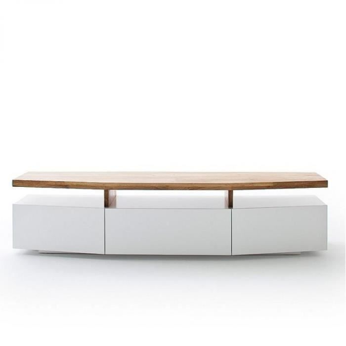 Meuble TV SIGMUND 180 cm laque blanc mat plateau chêne massif bi color MDF Inside75