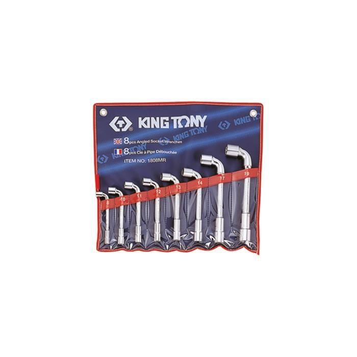 Trousse de 8 clés à pipe débouchées D. 8, 10, 11, 12, 13, 14, 17 et 19 mm - 1808MR - King Tony