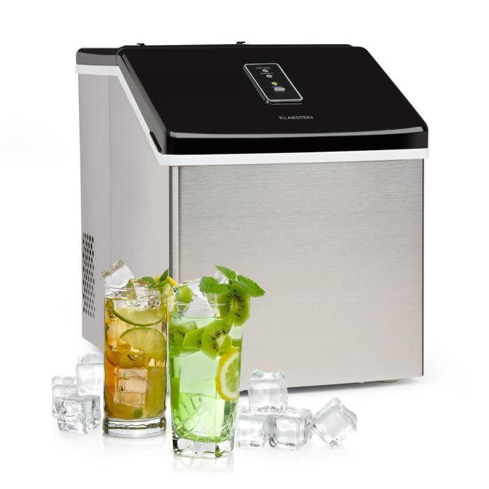 Klarstein Clearcube Machine à glaçons puissante 13 kg - jour - glace transparente - 29 x 36 x 37 cm - boîtier design inox noir