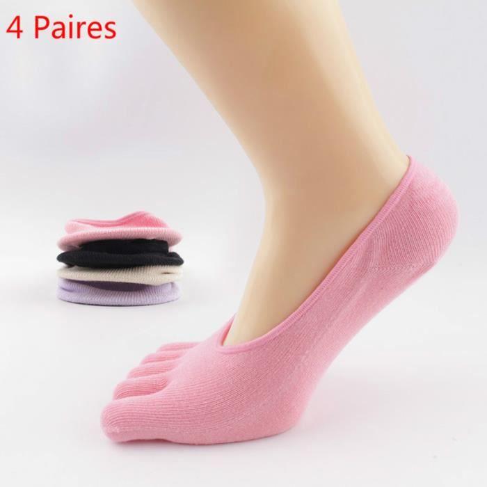 Chaussettes Orteils Femme Chaussettes 5 Doigts En Coton, Prot Ge-Pieds Chaussettes Invisibles Femme Coupe Basse Socquettes, 4 Paires