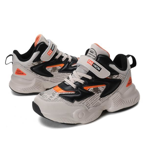 Sneakers Enfant Baskets Montantes Garcon Chaussure de Course Mode Garcon Fille Sport Running Shoes Competition (Kaki 33)