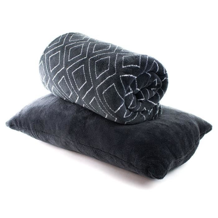 PAVILLON D'INTERIEUR Set plaid+coussin Lorna 130x150cm / 30x50cm - Anthracite