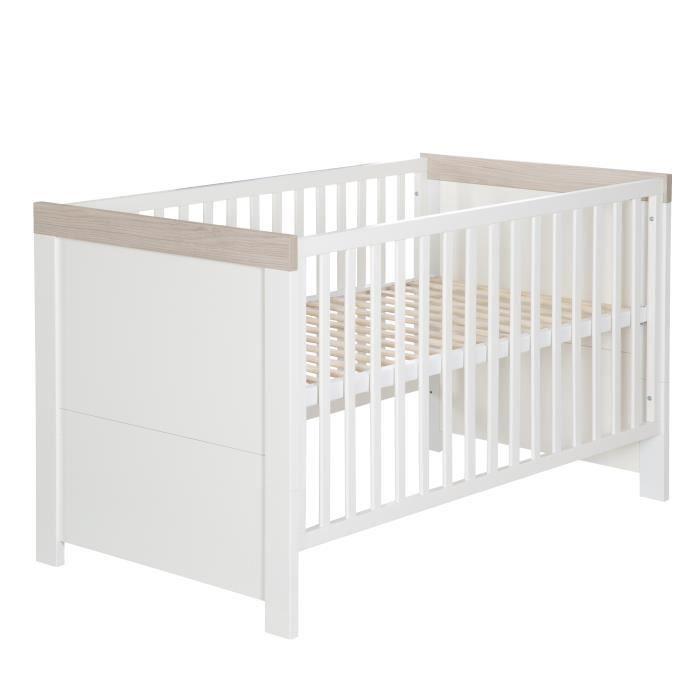 ROBA Lit bébé évolutif -Lucy- 70x140 cm, convertible, blanc-chêne