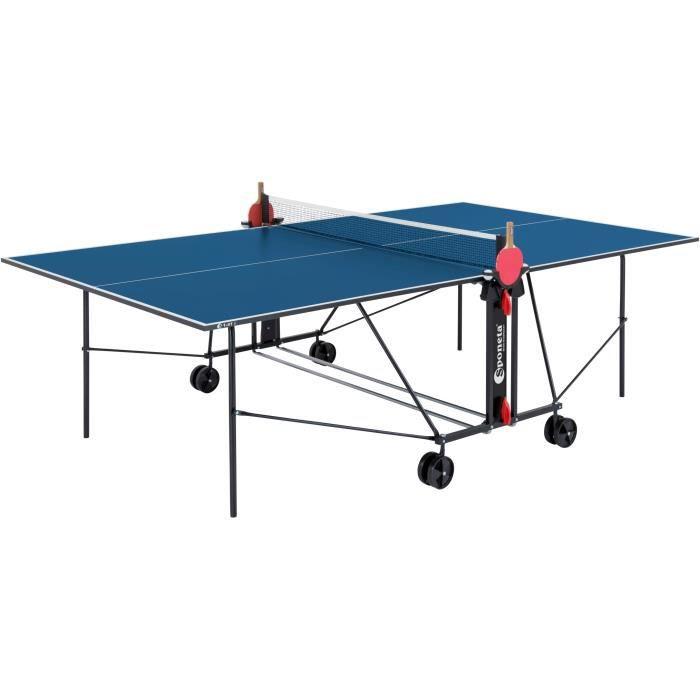 SPONETA Table Tennis de Table - Table Ping Pong Compacte - Usage Intérieur - Bleu et Noir
