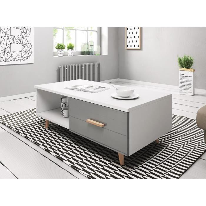 VIVALDI Table basse - SWEDEN - 110 cm - blanc mat / gris brillant - style scandinave
