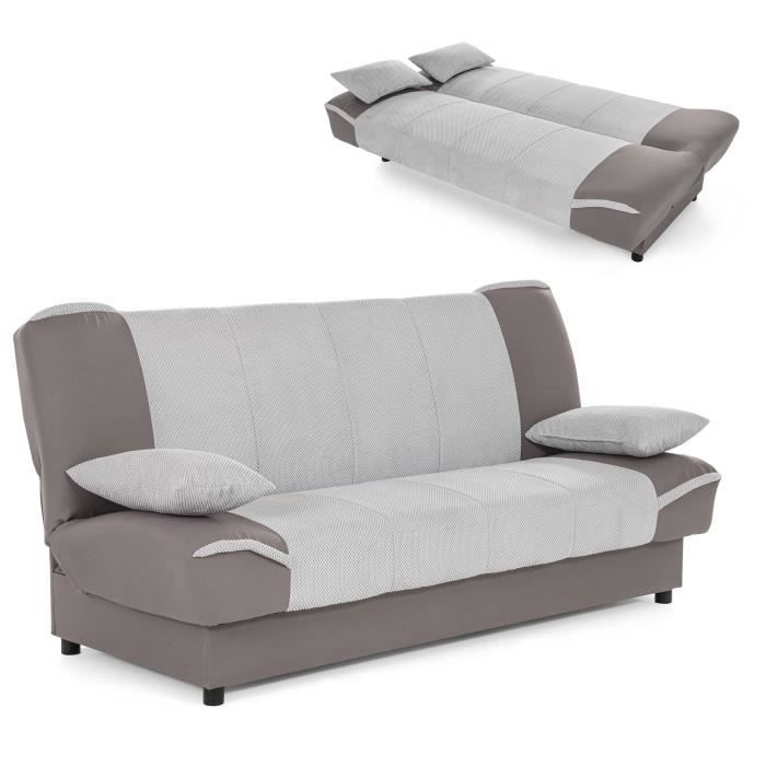 canap clic clac gris convertible alton achat vente clic clac cdiscount. Black Bedroom Furniture Sets. Home Design Ideas