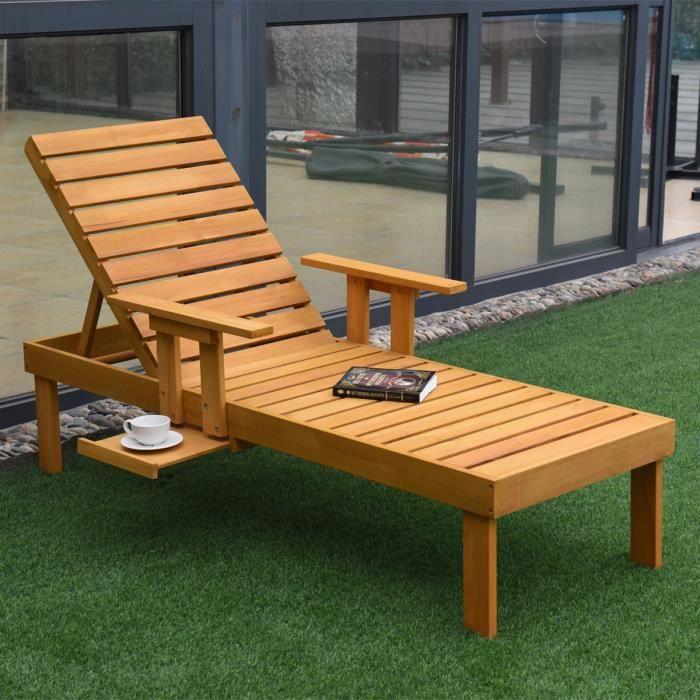 Chaise longue de jardin en bois Chaise de plage Orange ...
