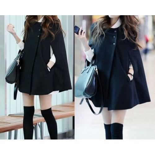poncho noir cape manteau veste femme classerobes noir achat vente imperm able trench. Black Bedroom Furniture Sets. Home Design Ideas