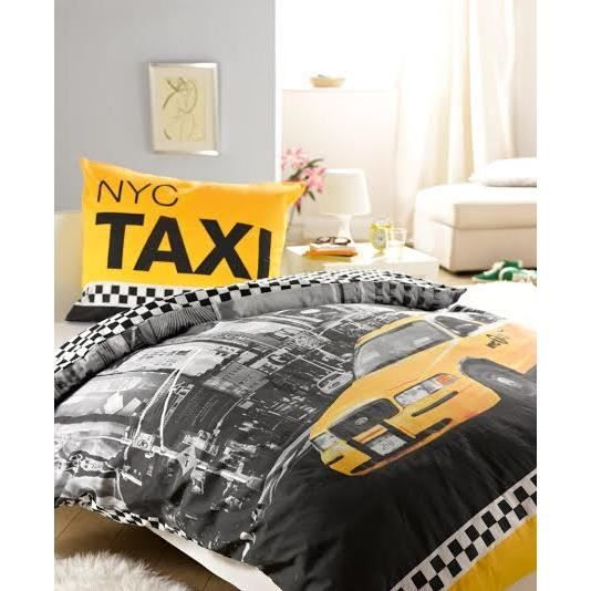 linge de lit housse de couette taxi new york nyc achat vente pack linge de lit soldes d. Black Bedroom Furniture Sets. Home Design Ideas