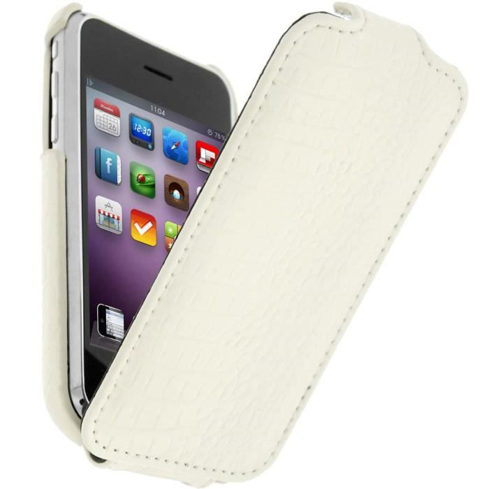 Etui clapet croco apple iphone 3g 3gs blanc achat for Housse iphone 3g