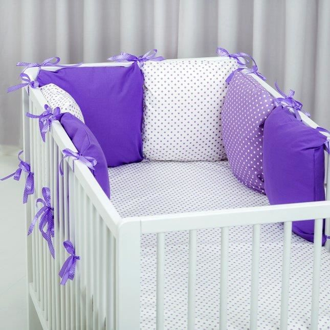 tour de lit modulable 6 coussins reversibles violet blanc. Black Bedroom Furniture Sets. Home Design Ideas