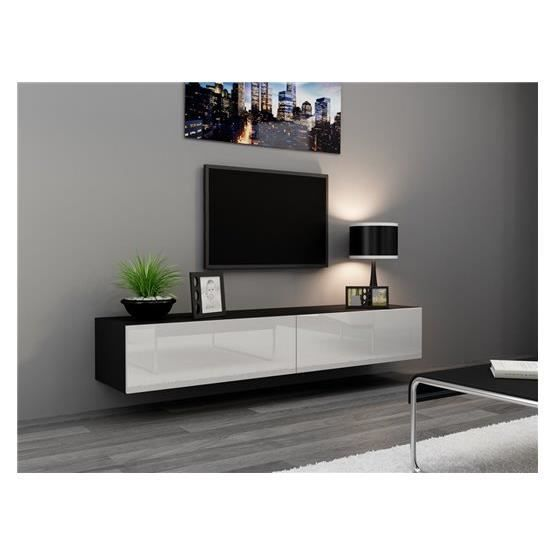 meuble tv design suspendu vito 180 noir et blanc achat vente meuble tv meuble tv vito 180 nr. Black Bedroom Furniture Sets. Home Design Ideas