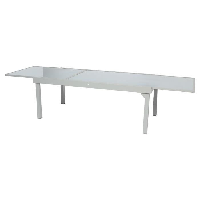 Table de jardin extensible Piazza - 12 Personnes - Gris silver ...