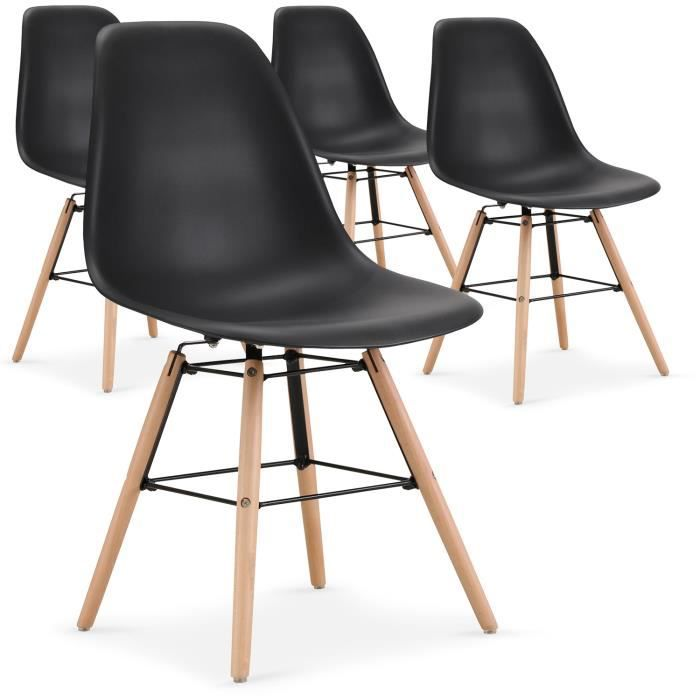CHAISE Lot De 4 Chaises Scandinaves Lisa Noir
