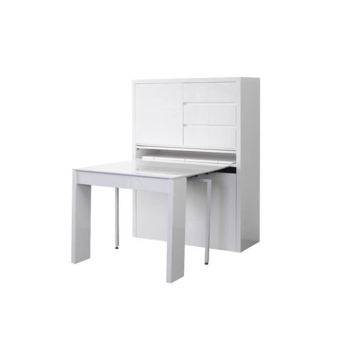 buffet design table extensible laque blanc pratik