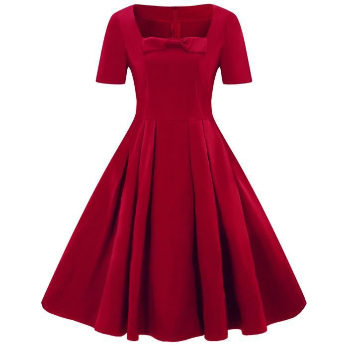 Robe Mi Longue Femmes Mode Feminine Taille Plus Robe A Manches Courtes Vintage Solide Bow Retro Robe Evasee Rouge Rouge Achat Vente Robe Cdiscount