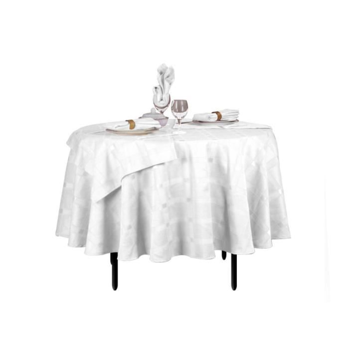 nappe ronde damass blanche 180 cm lot de 6 s achat. Black Bedroom Furniture Sets. Home Design Ideas