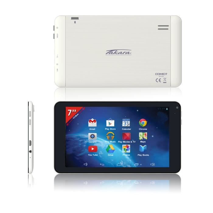 informatique tablettes tactiles ebooks takara tablette  blanche dual core go f tak