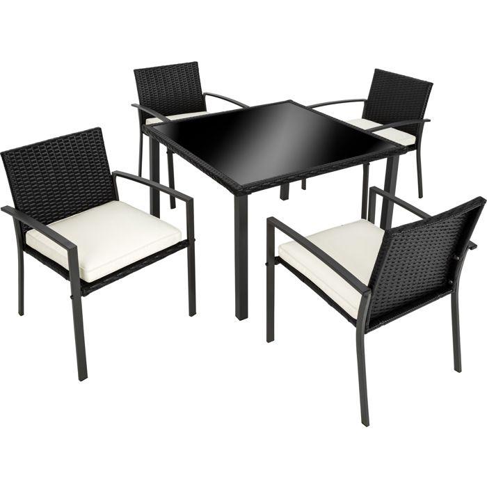 Cadre en Tressée Noir 4 Coussins1 en Acier de Jardin 4 avec Salon Table Personnes Chaises TECTAKE Résine wPkn0O8X
