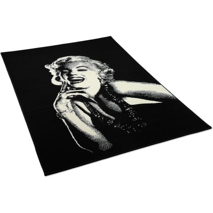 tapis salon marilyn noir universol 120x170cm achat vente tapis cdiscount. Black Bedroom Furniture Sets. Home Design Ideas