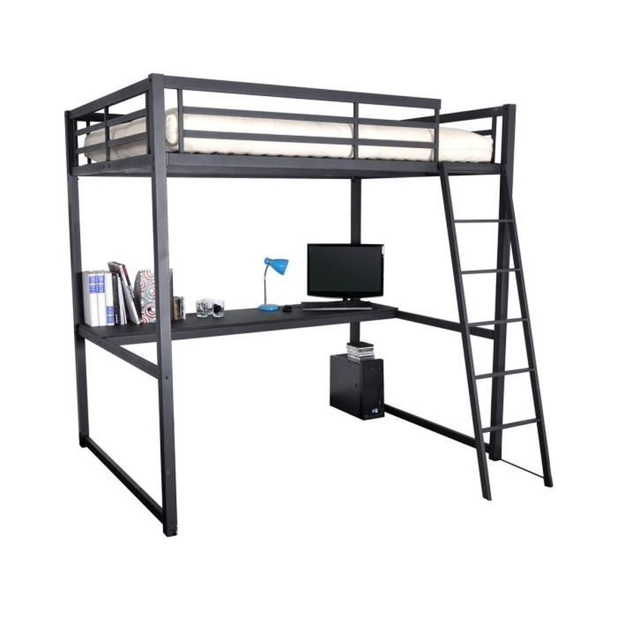 house lit mezzanine 140x190cm achat vente lit mezzanine house lit mezzanine 140x1. Black Bedroom Furniture Sets. Home Design Ideas