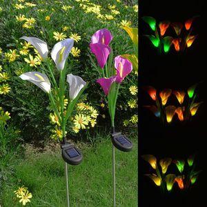 FLEUR ARTIFICIELLE Luminaires solaires de jardin multi-couleur Calla