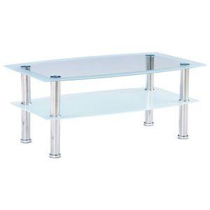 TABLE BASSE Table basse Blanc 100x60x42 cm Verre trempé