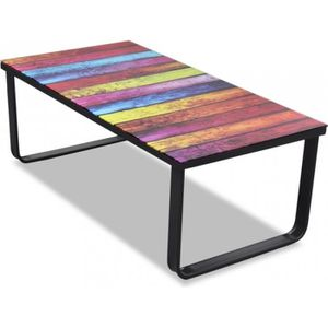 TABLE BASSE Table basse de salon design verre musique multicol