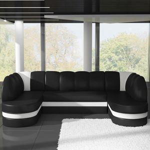 CANAPÉ - SOFA - DIVAN Canapé panoramique convertible noir et blanc DEBOR
