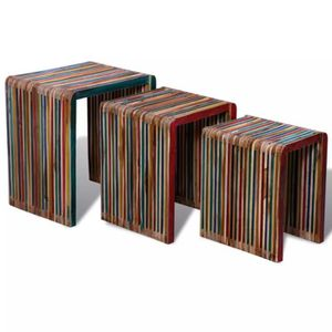 TABLE BASSE Homgeek Table Gigogne 3 pcs Teck Tables D'appoint