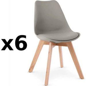 CHAISE Lot de 6 chaises OSLO grise design scandinave piét