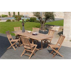 Ensemble Table de jardin et 6 chaises en teck BORNEO - Achat ...