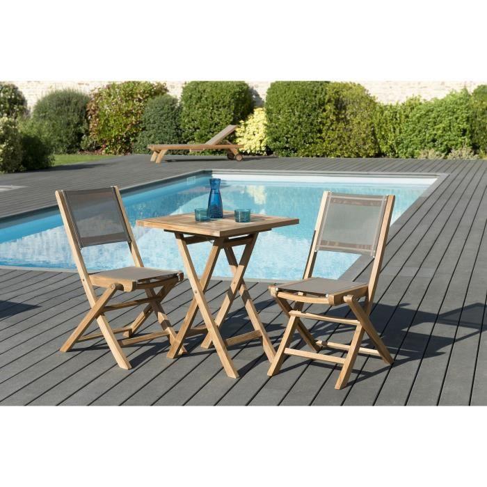 Ensemble de jardin en teck : 1 table carrée pliante 60 x 60 cm - Lot de 2 chaises pliantes en textilène, couleur taupe JARDITECK