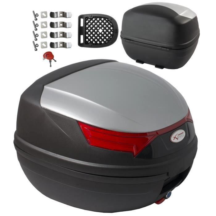 Top Case Moto Bagage Coffer Valise Fermeture 32 lt.Quad Touring argent