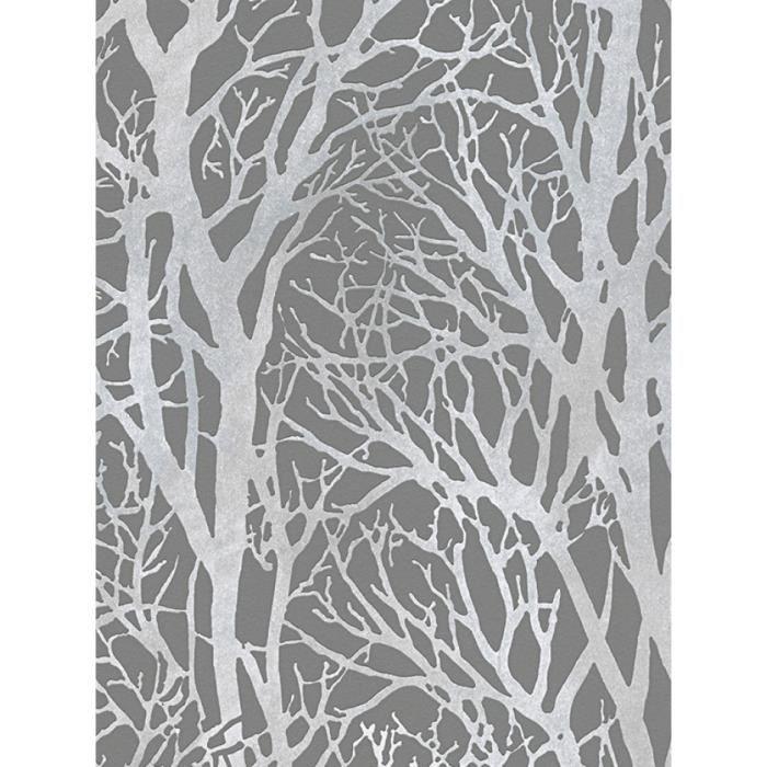 Arbre des Branches papier peint gris foncé et argent - CRÉATION 30094-3