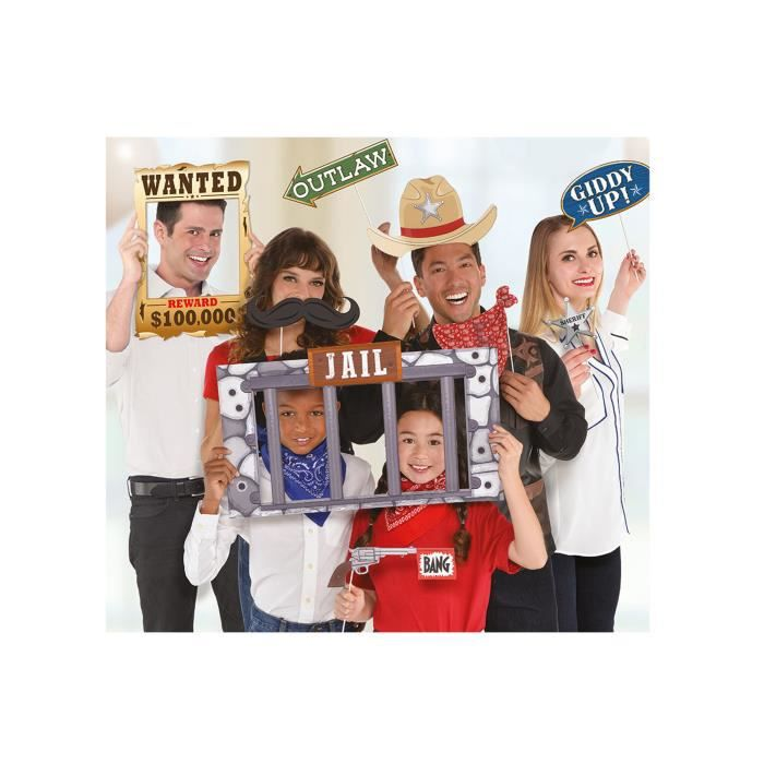12 Accessoires photobooth western - Multicolore