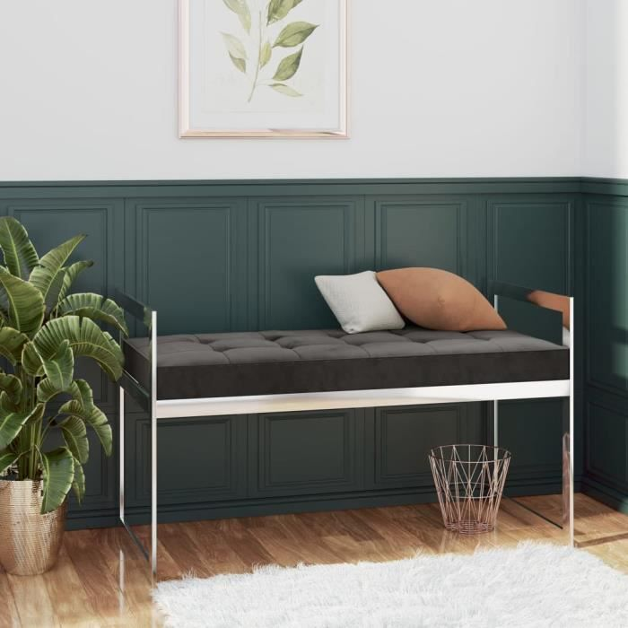 Banc à chaussures avec coussin Velours et acier inoxydable - 97 x 44 x 46 cm - Style contemporain - Gris